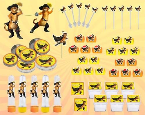 Kit festa O Gato de Botas 107 peças (10 pessoas)