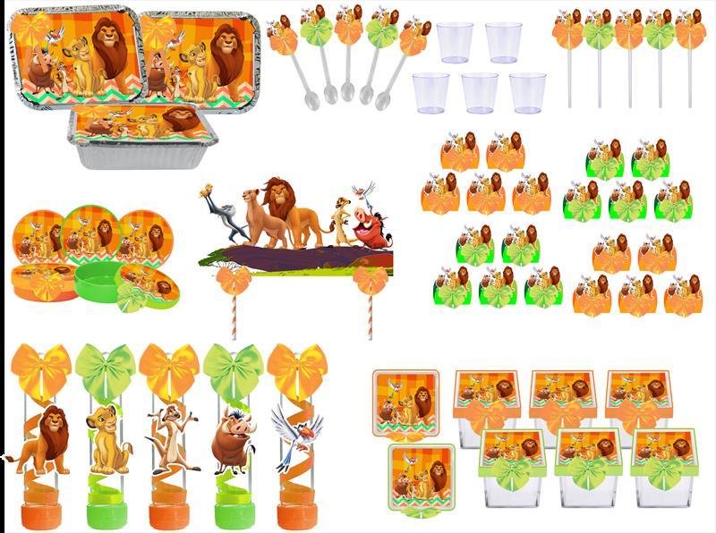 Kit festa decorado O Rei Leão 191 peças (20 pessoas)