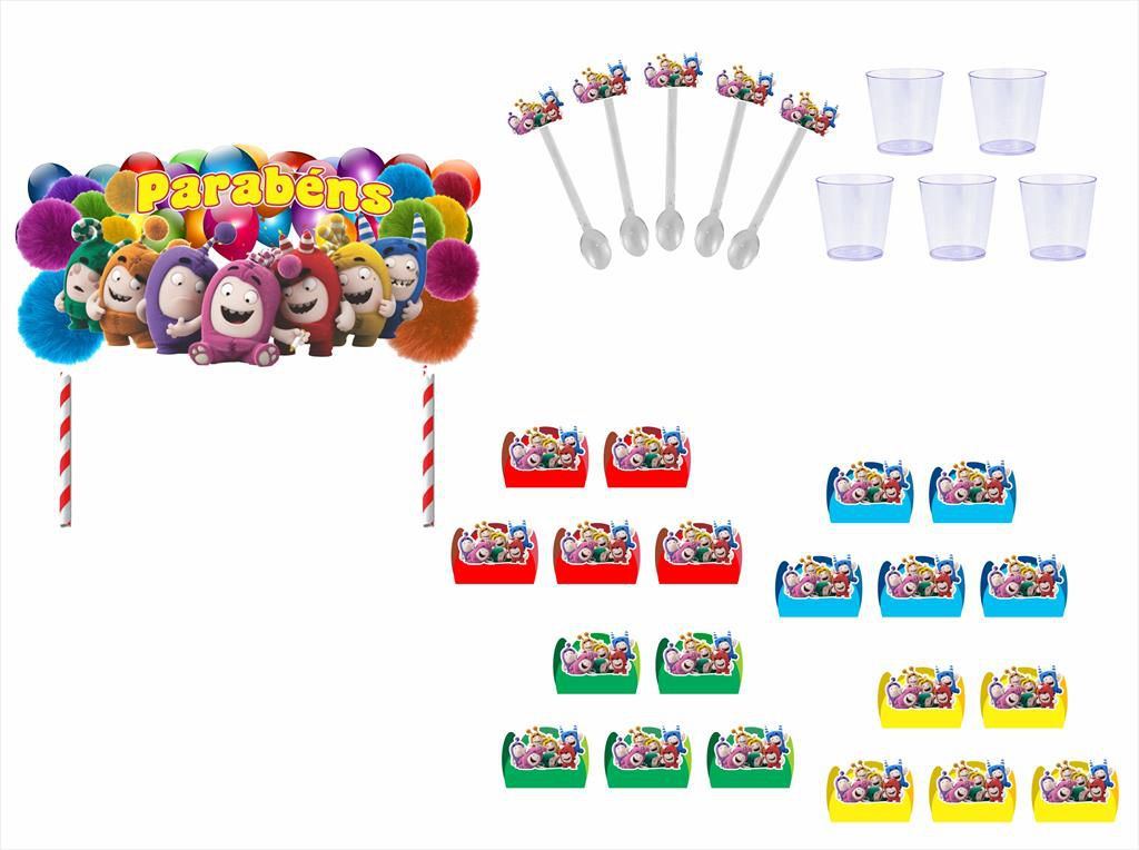 Kit festa Oddbods 121 peças (10 pessoas)