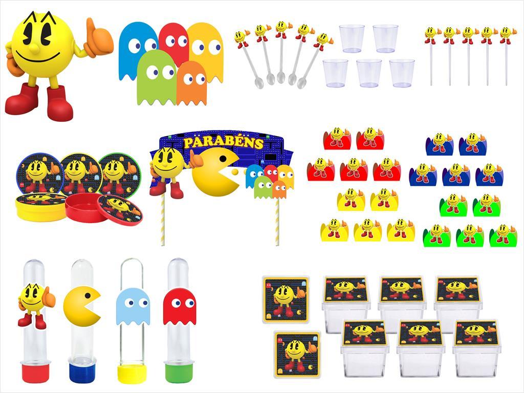 Kit festa Pac Man 173 peças (20 pessoas)