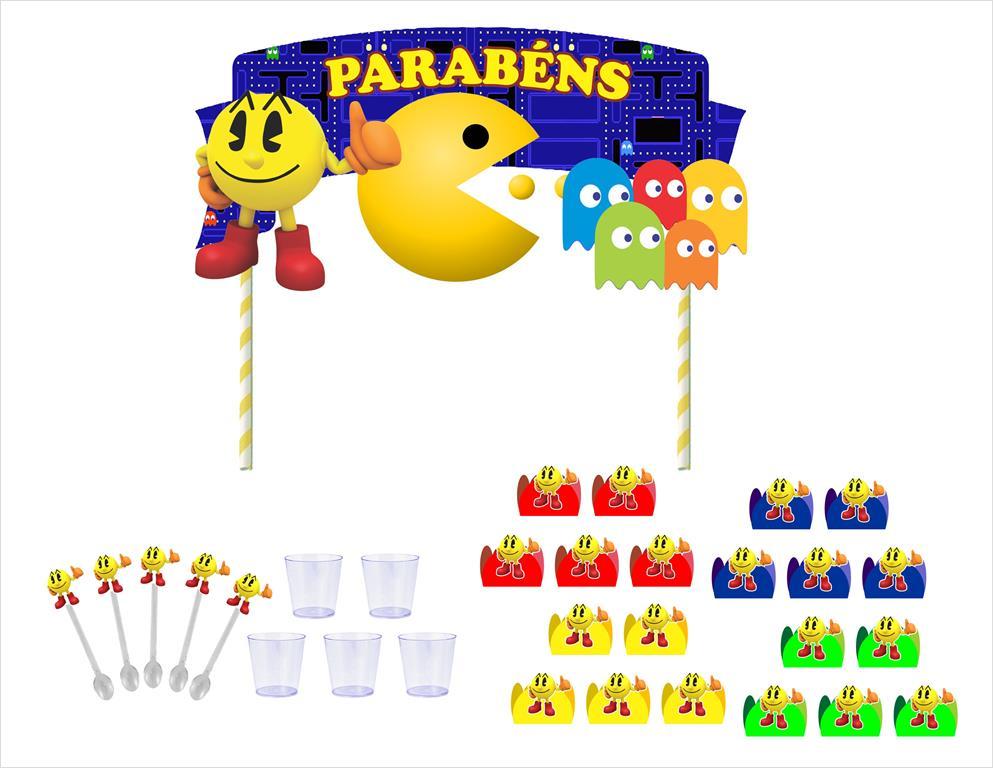 Kit festa Pac Man 61 peças