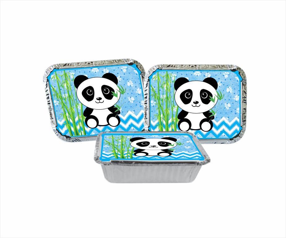 Kit festa Panda (azul claro) 121 peças (10 pessoas)