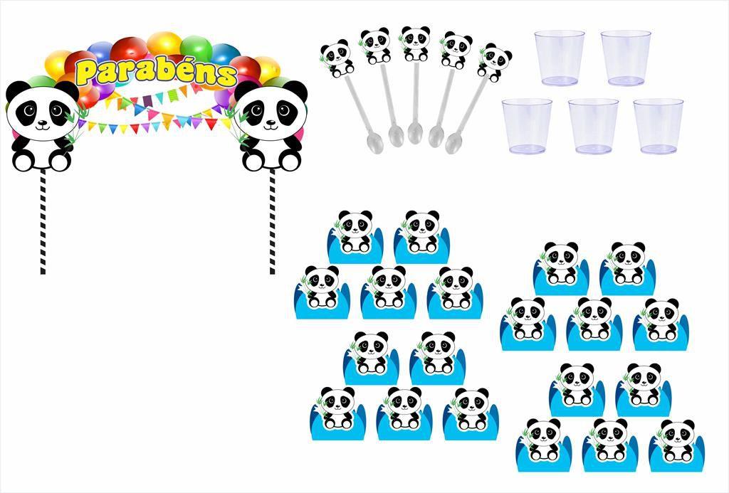 Kit festa Panda (azul claro) 173 peças (20 pessoas)