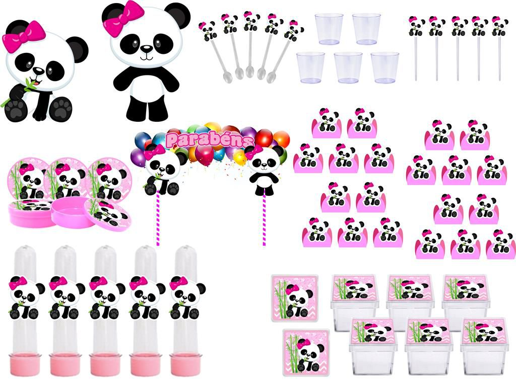 Kit Festa Panda Menina 173 peças (20 pessoas)