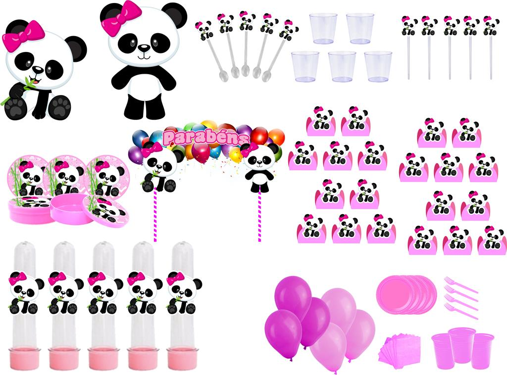 Kit Festa Panda Menina 363 Peças (20 pessoas)