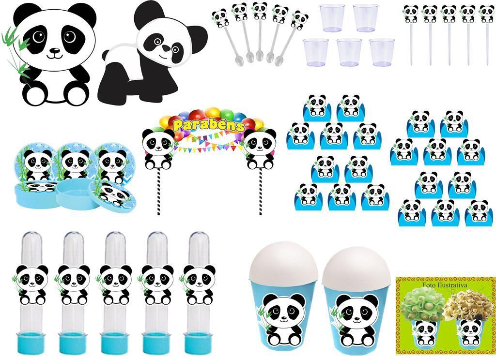 Kit festa Panda Menino (azul claro) 105 peças (10 pessoas)