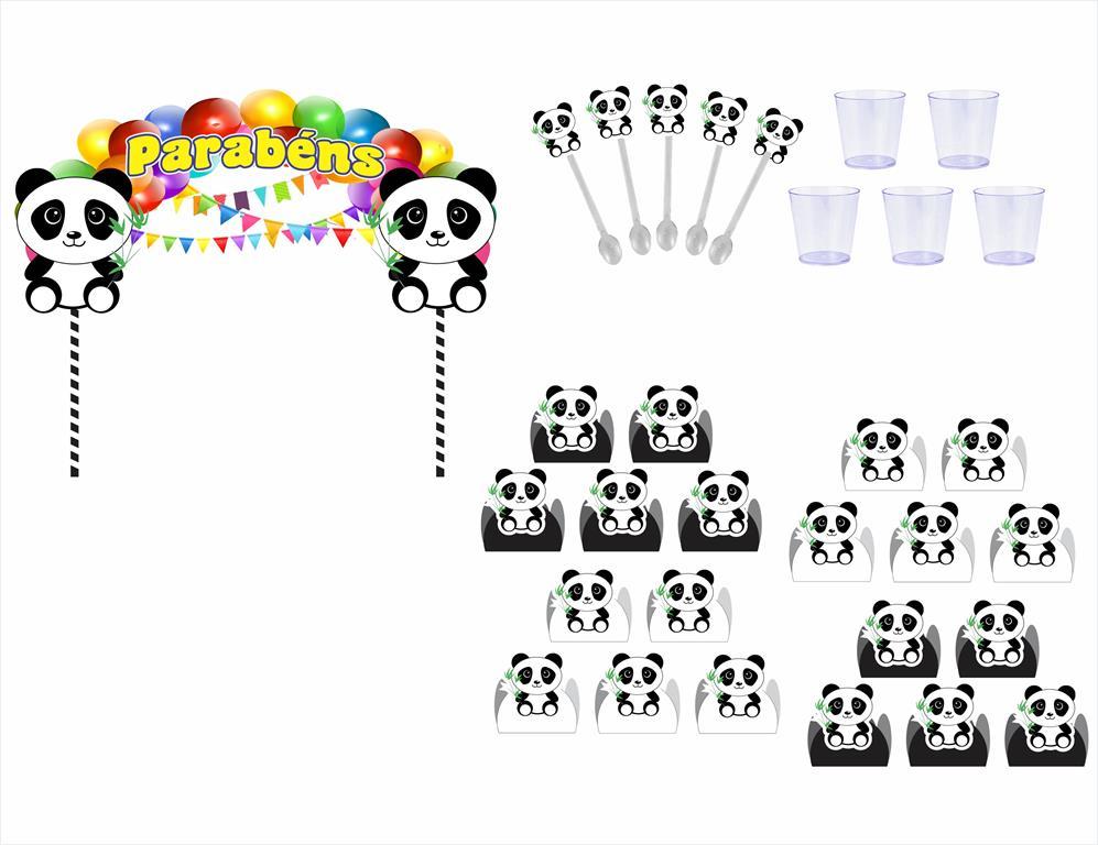 Kit Festa Panda Menino (preto E Branco) 363 Peças (20 pessoas)