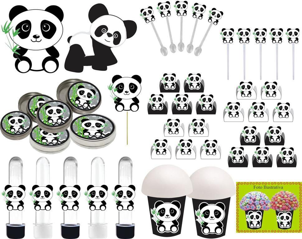 Kit Festa Panda Menino (preto E Branco) 99 Peças (10 pessoas)