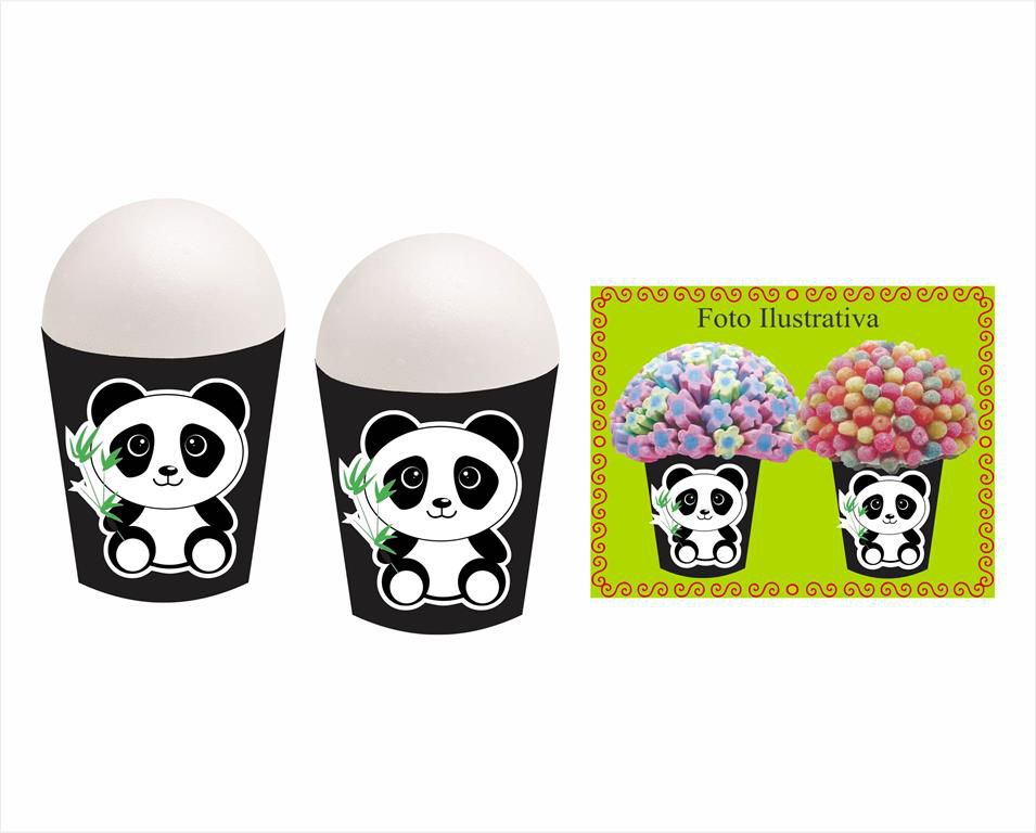 Kit Festa Panda (preto e branco) 105 peças (10 pessoas)