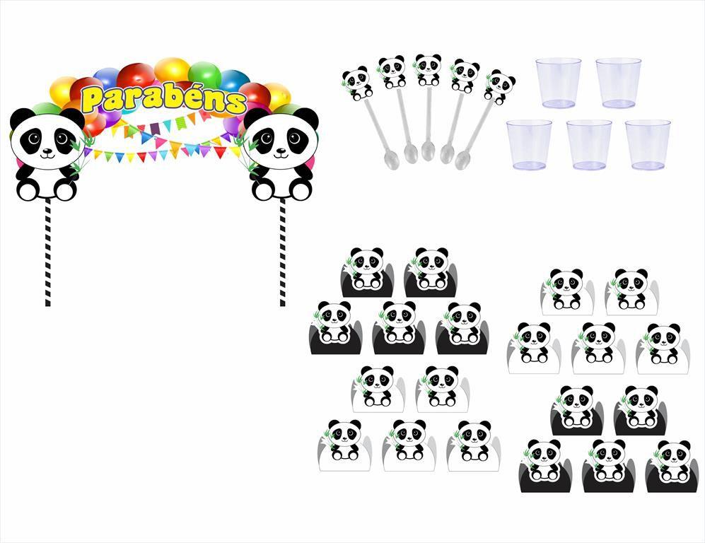 Kit festa Panda (preto e branco) 121 peças (10 pessoas)