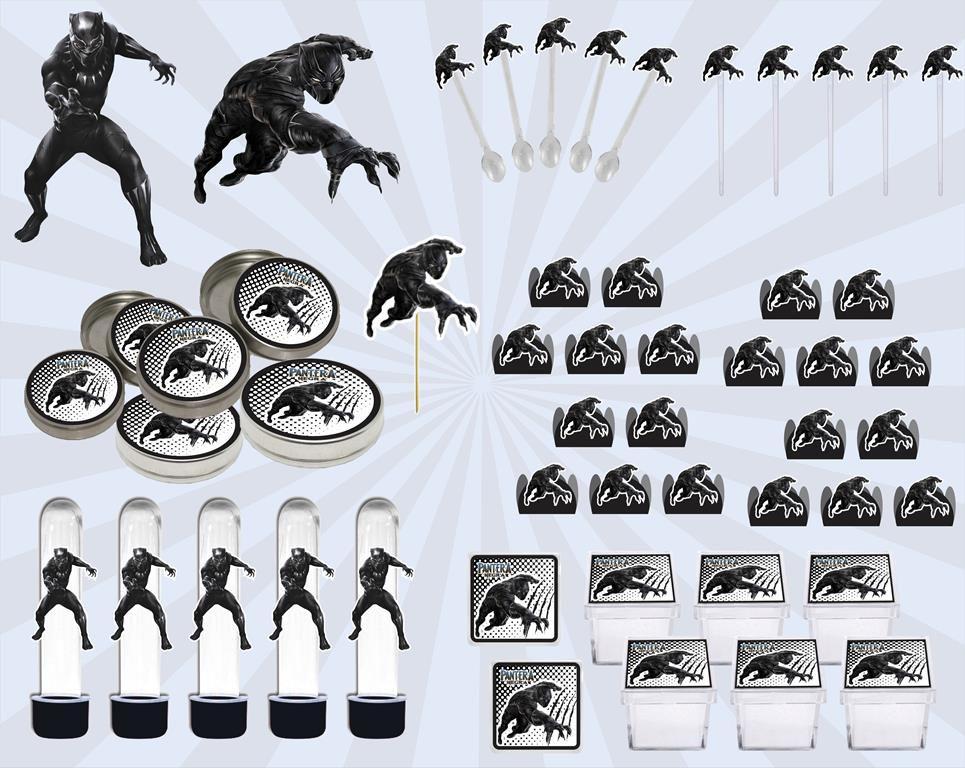 Kit festa Pantera Negra 161 peças (20 pessoas)