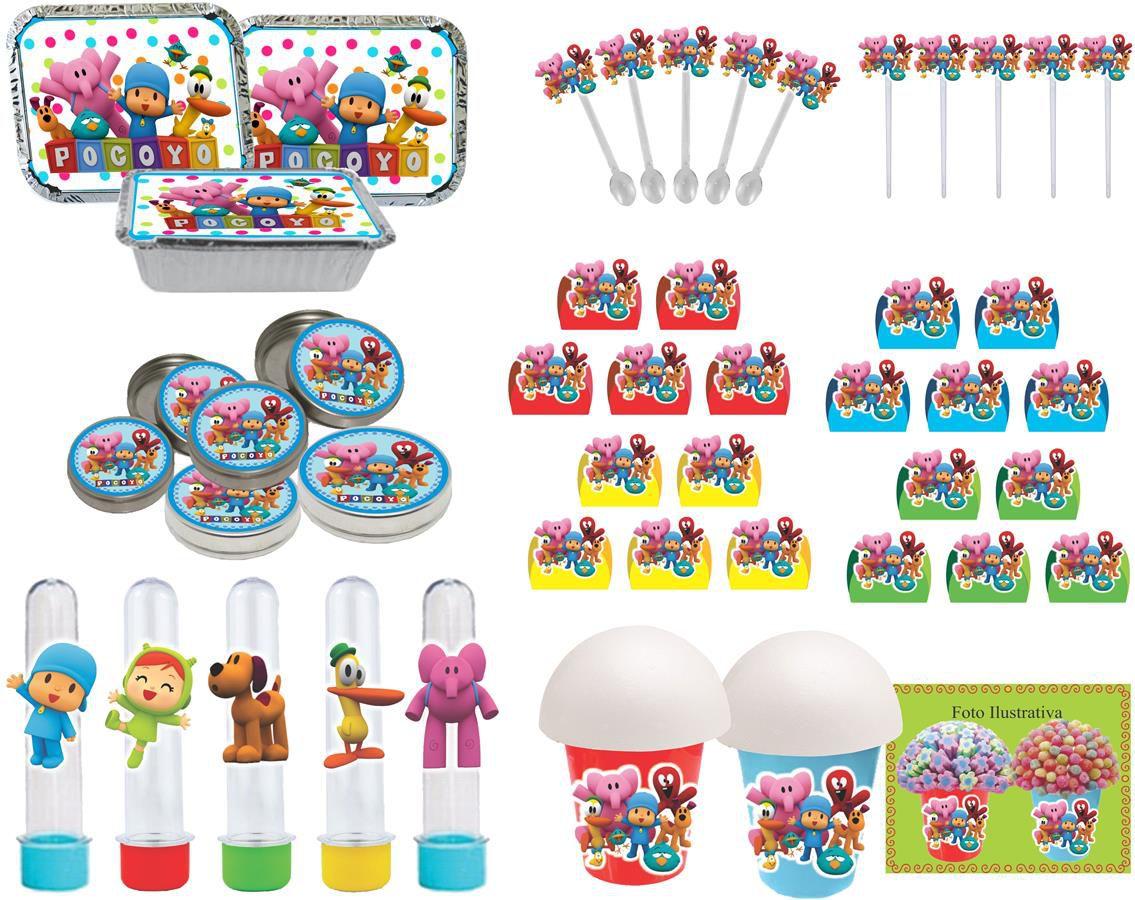 Kit festa Pocoyo (colorido) 160 peças (20 pessoas)