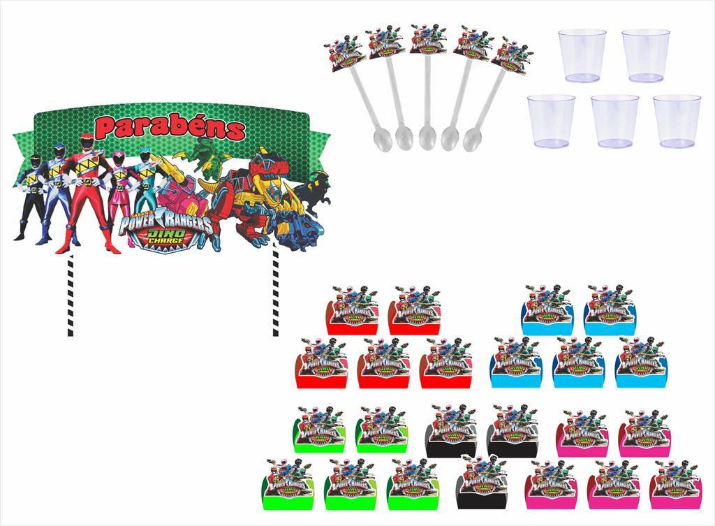 Kit festa Power Ranger Dino Charger 105 peças (10 pessoas)