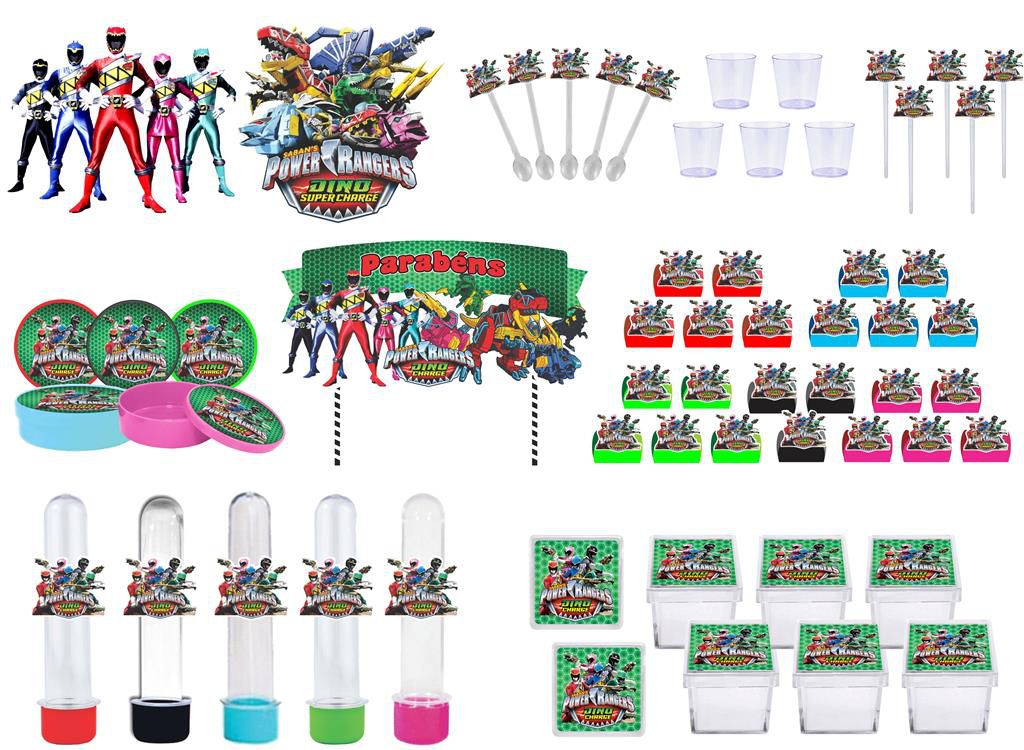 Kit festa Power Ranger Dino Charger 173 peças (20 pessoas)