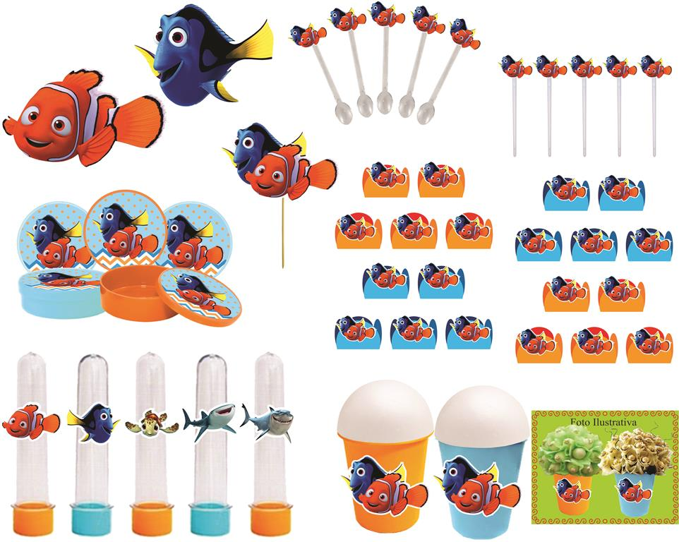 Kit Festa Procurando Nemo 265 Peças (30 pessoas)