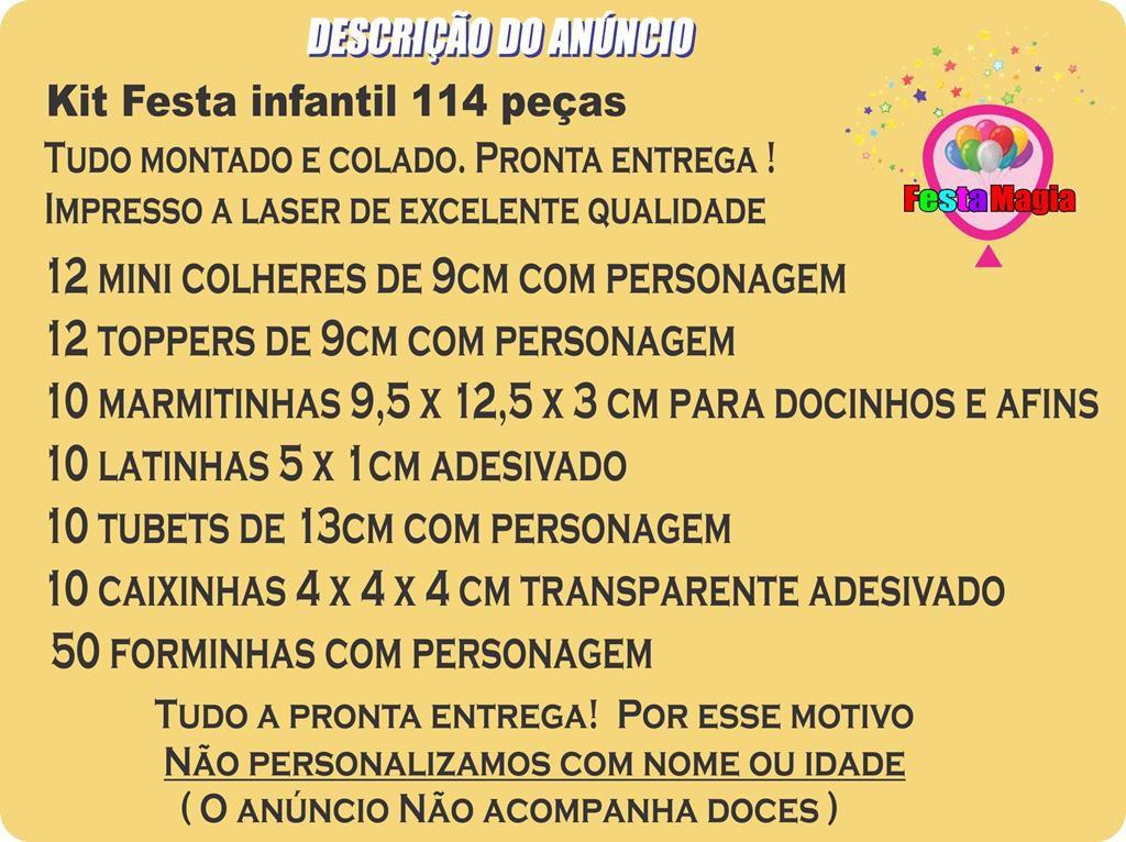 Kit festa Raposinha menina 114 peças (10 pessoas)