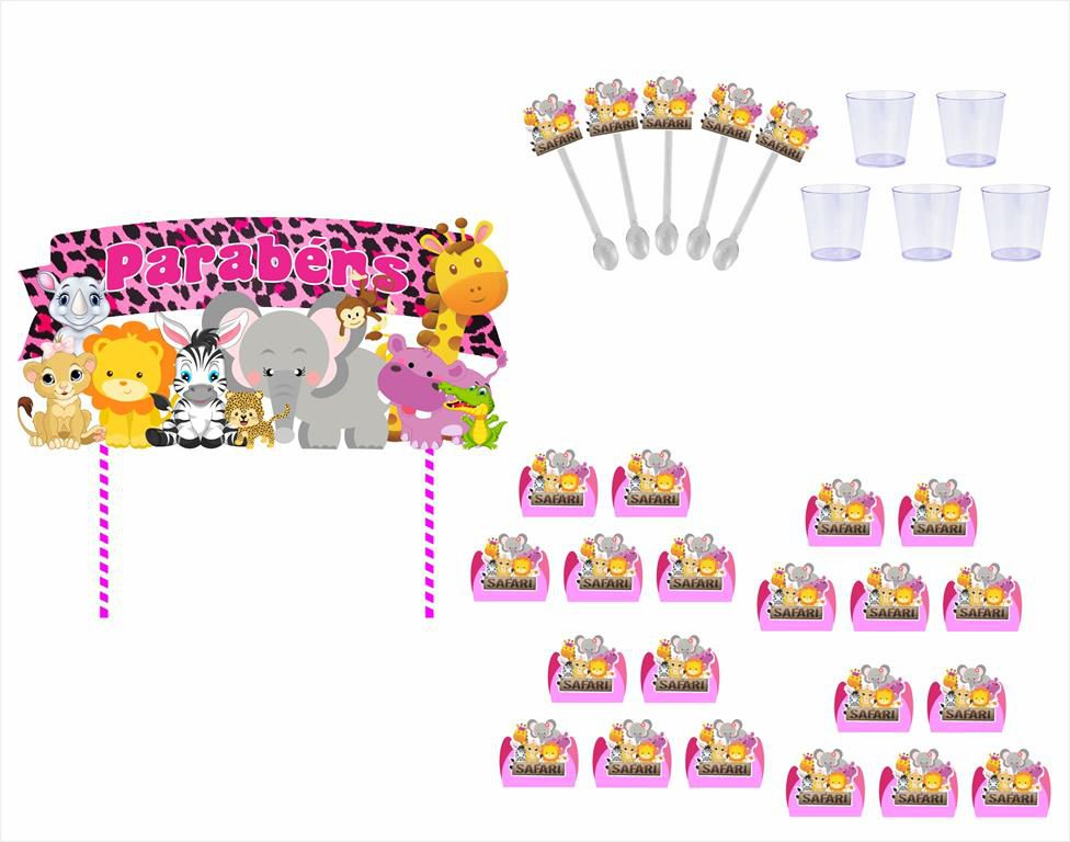 Kit Festa Safari Menina 121 Peças (10 pessoas)