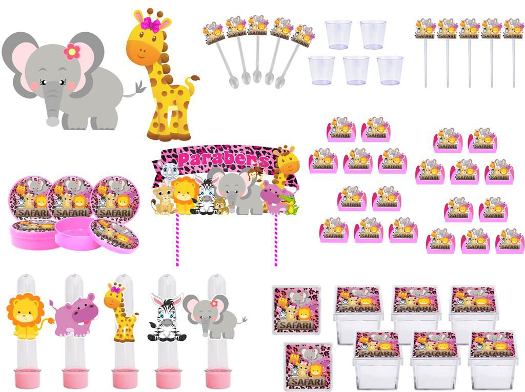 Kit Festa Safari Menina 173 Peças (20 pessoas)