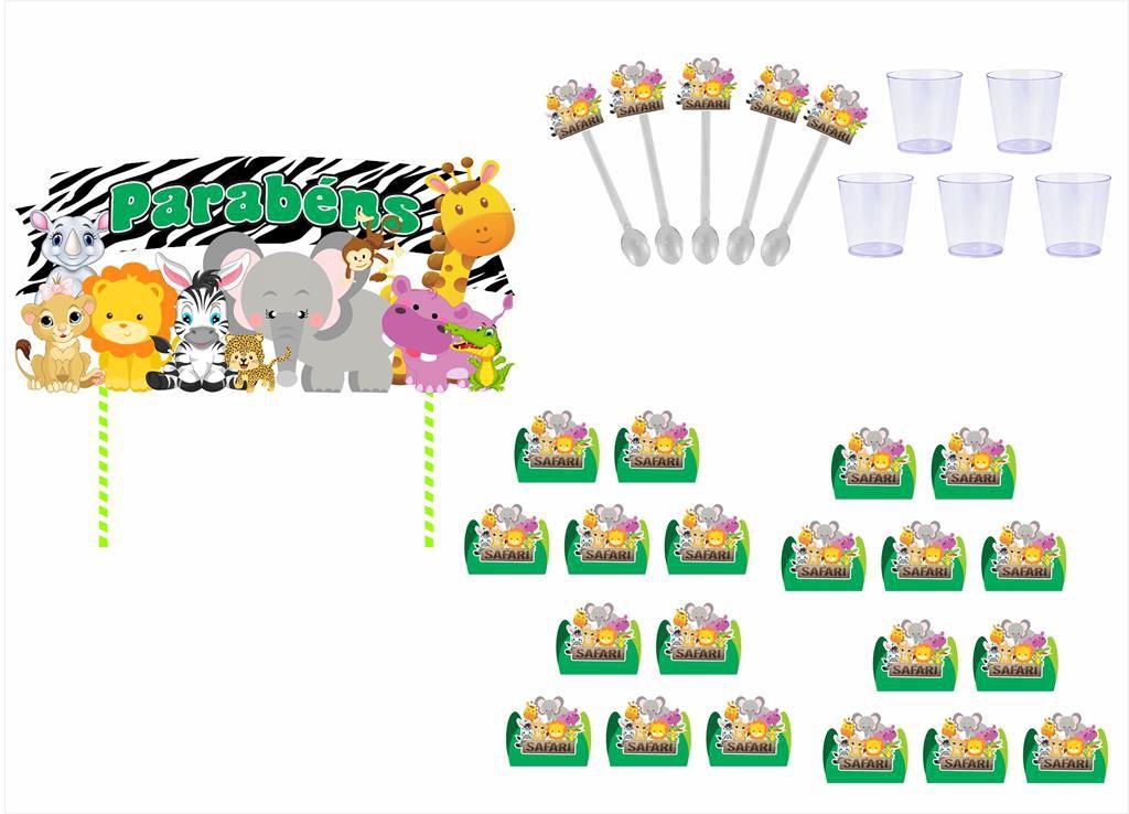 Kit Festa Safari Menino (verde Escuro) 173 Peças (20 pessoas)