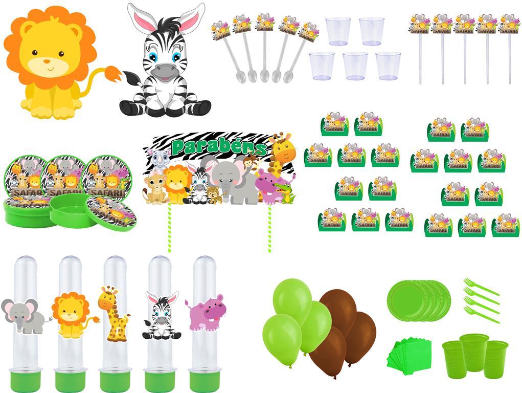 Kit Festa Safari Menino (verde Escuro) 363 Peças (20 pessoas)