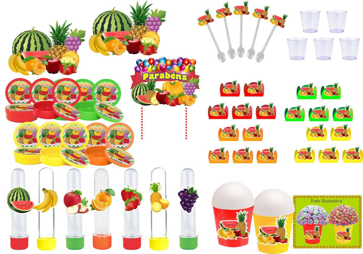 Kit festa Salada de Frutas 155 peças (20 pessoas)