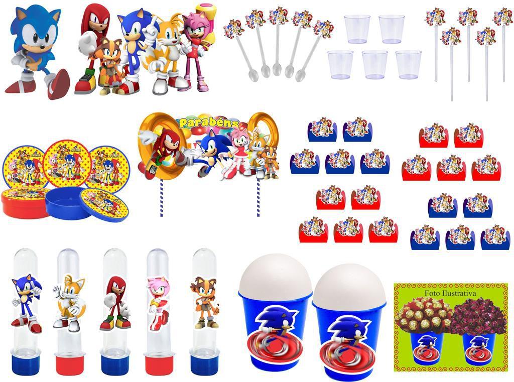 Kit festa Sonic e sua Turma 105 peças (10 pessoas)