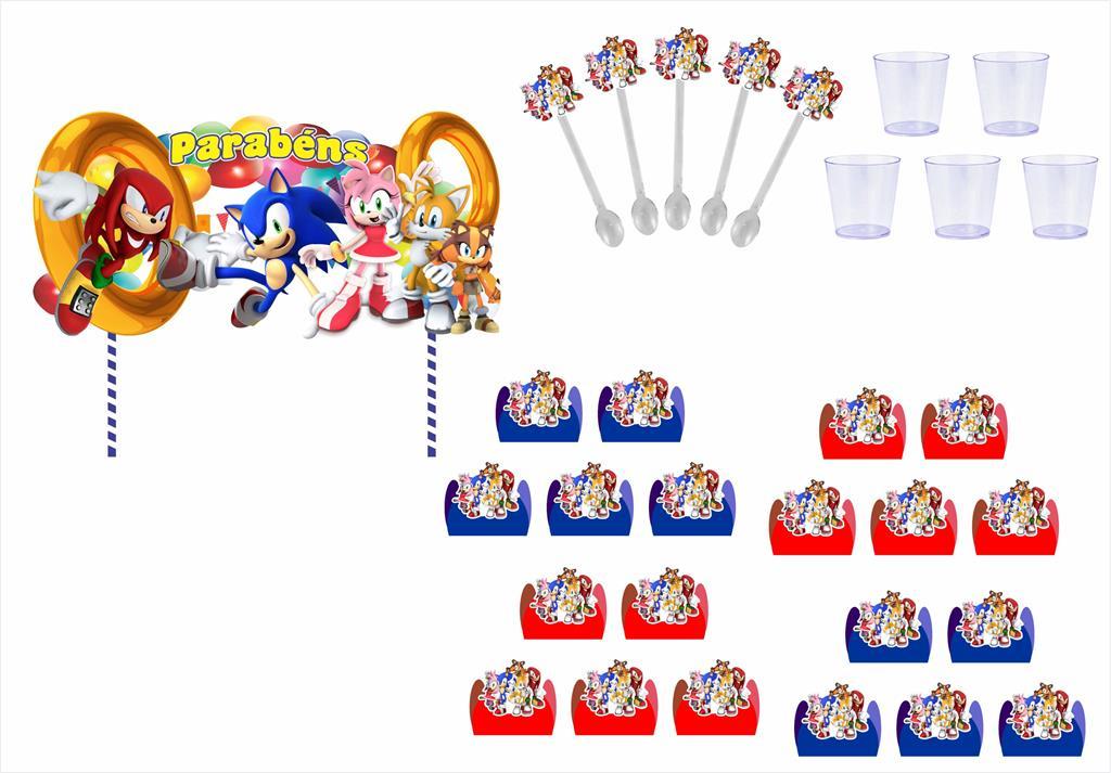 Kit festa Sonic e sua Turma 363 peças (20 pessoas)