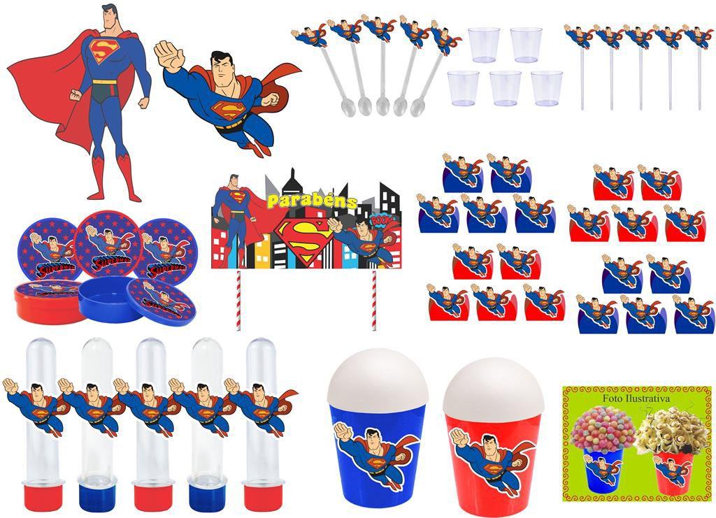 Kit festa Super Man 105 peças (10 pessoas)