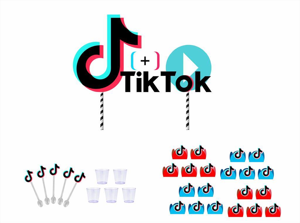 Kit festa Tik Tok (colorido) 61 peças