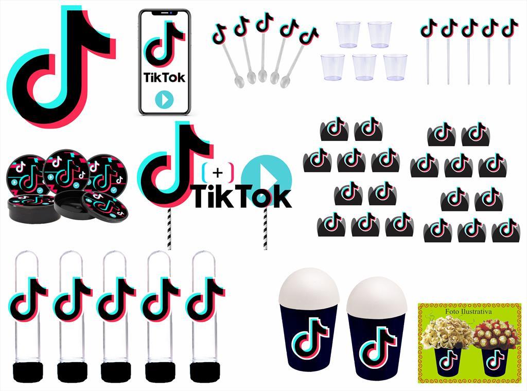 Kit Festa Tik Tok (preto) 105 Peças (10 pessoas)