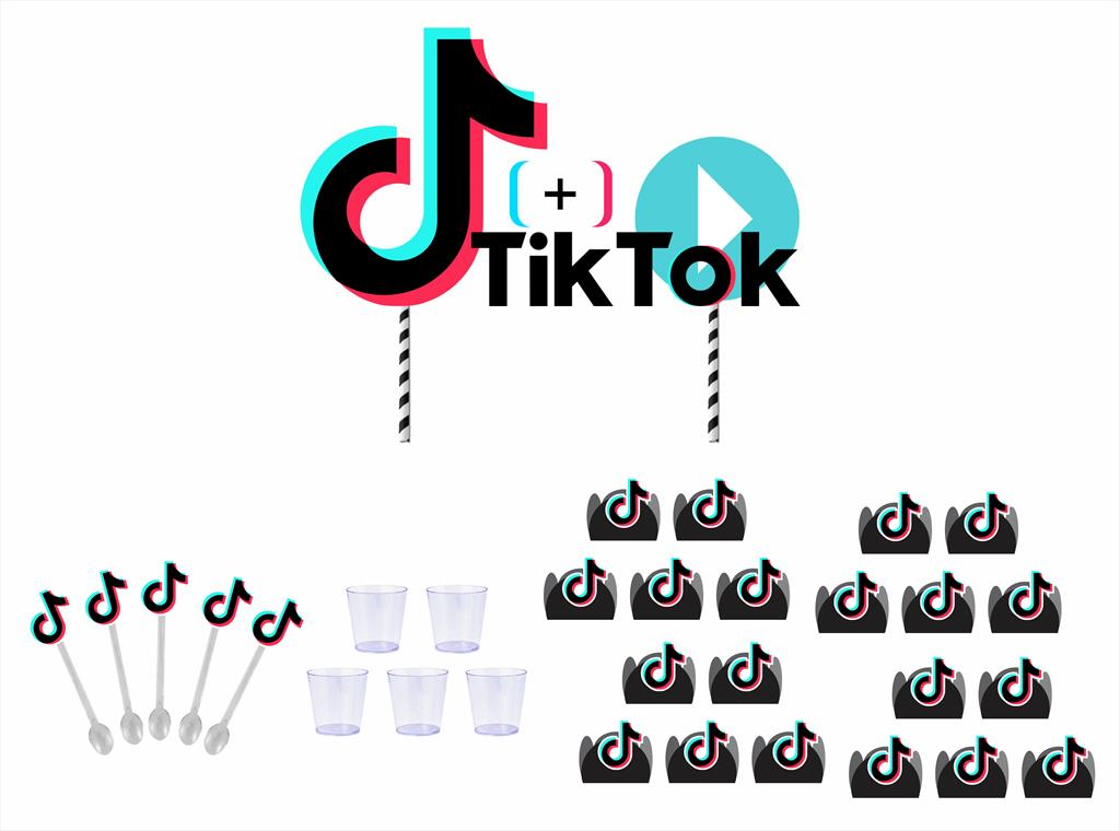 Kit festa Tik Tok (preto) 253 peças  (30 pessoas)