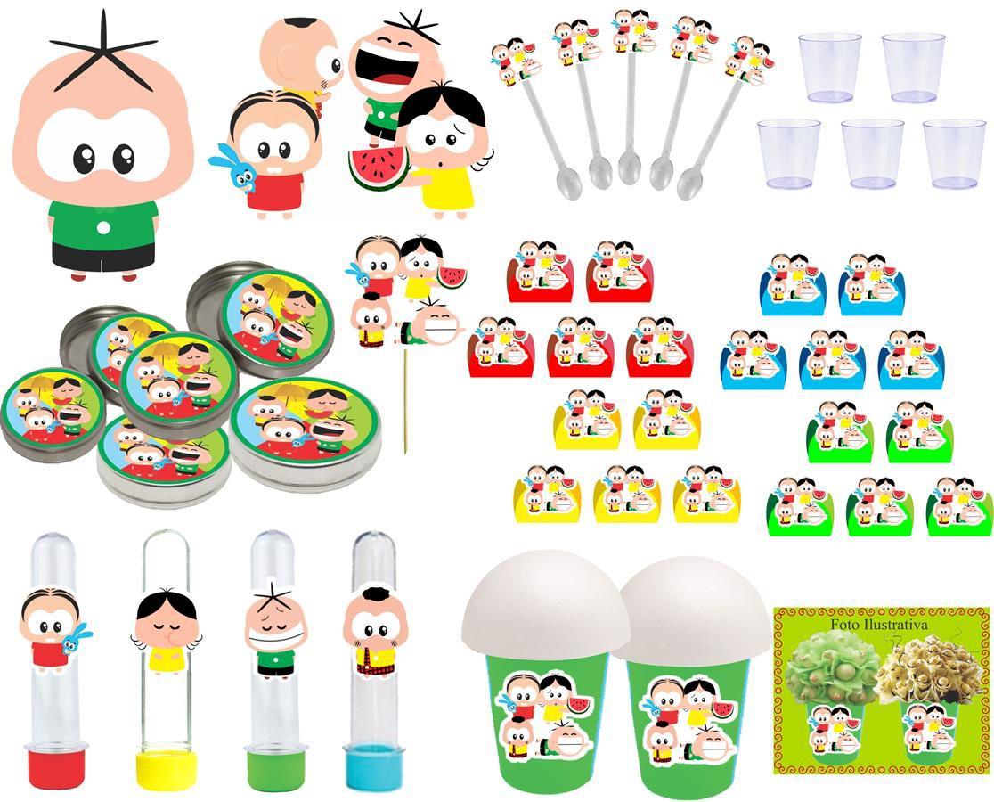 Kit festa Turma do Cebolinha Toy 155 peças (20 pessoas)