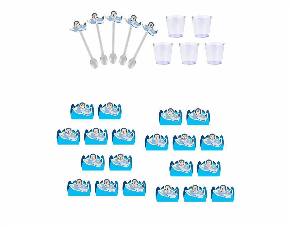 Kit festa Ursinho Aviador 61 peças (azul claro)