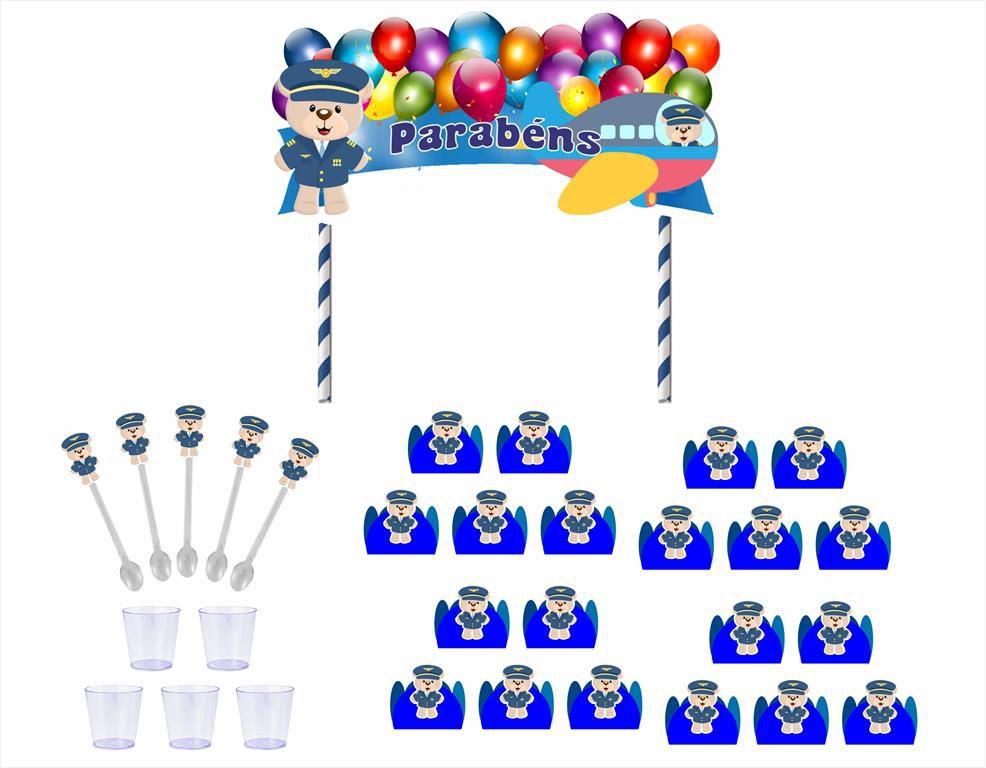 Kit festa Ursinho Aviador 61 peças (azul escuro)