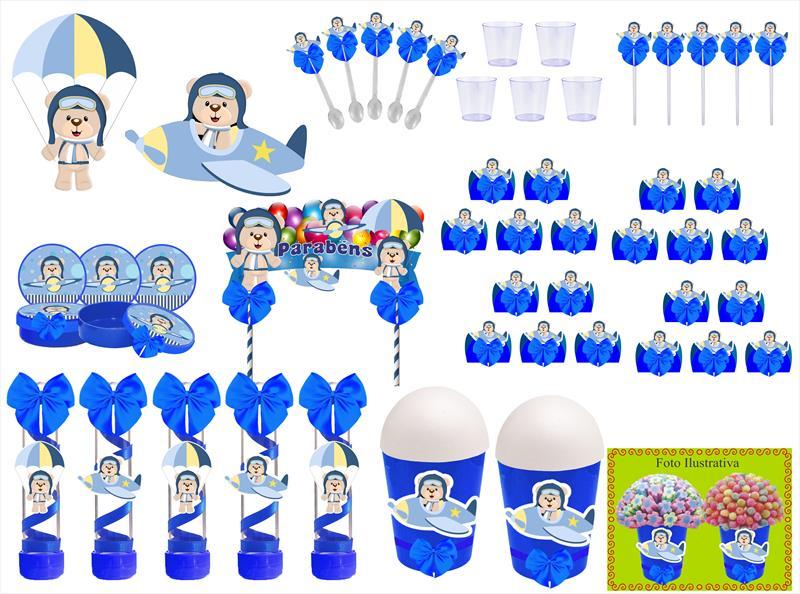 Kit festa decorado Ursinho Aviador  105 peças (10 pessoas)