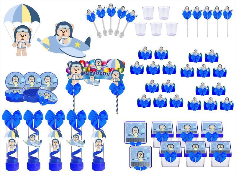 Kit festa decorado Ursinho Aviador 173 peças (20 pessoas)