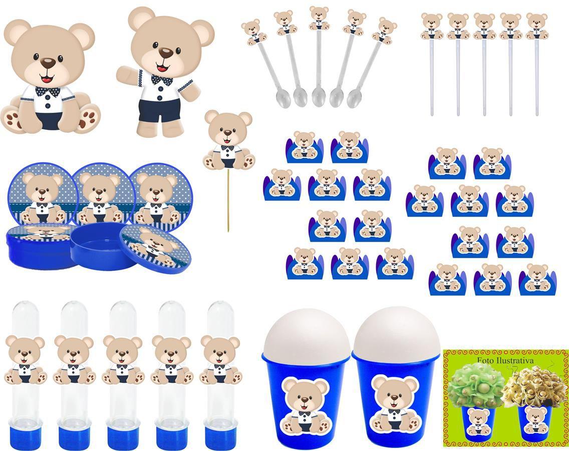 Kit Festa Ursinho (azul Escuro) 143 Peças (20 pessoas)