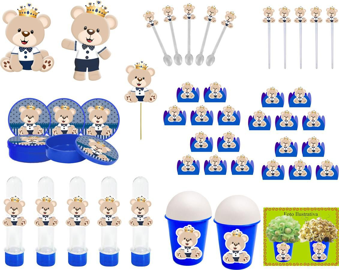 Kit Festa Ursinho Príncipe Azul Escuro 99 Peças (10 pessoas)