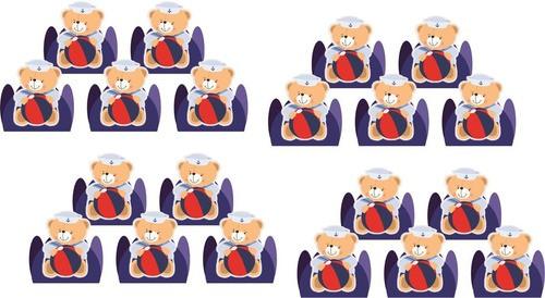 kit festa Urso Marinheiro 99 peças (10 pessoas)
