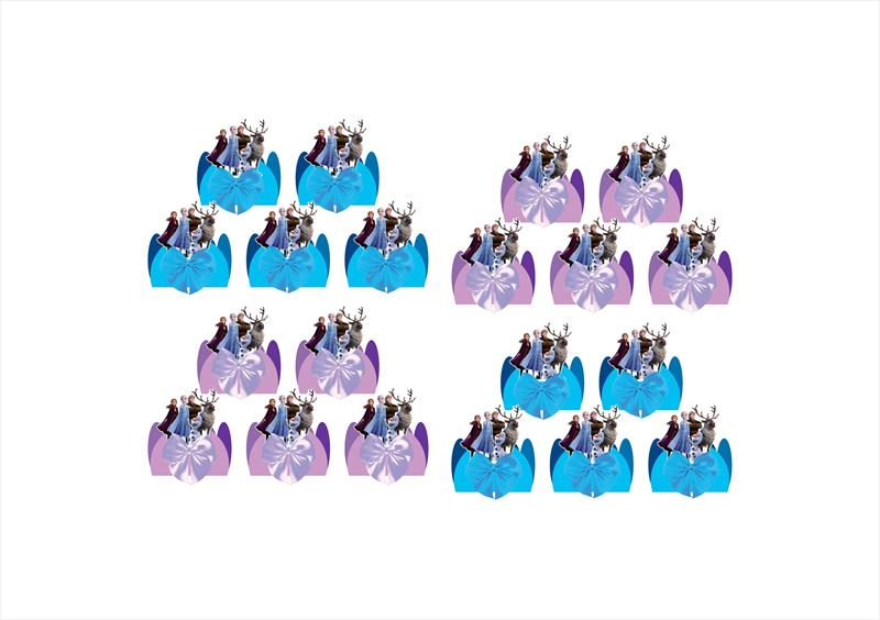 Kit festa decorado Frozen 2 (azul e lilás)  61 peças