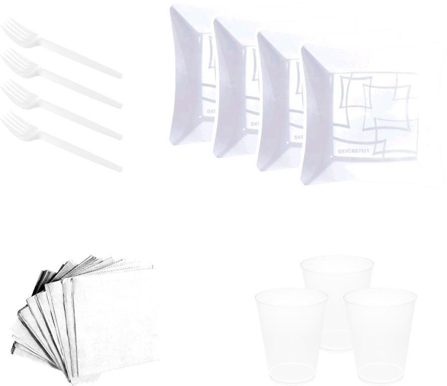 Kit pratinho. copo, garfinho e  guardanapo branco (10 pessoas)