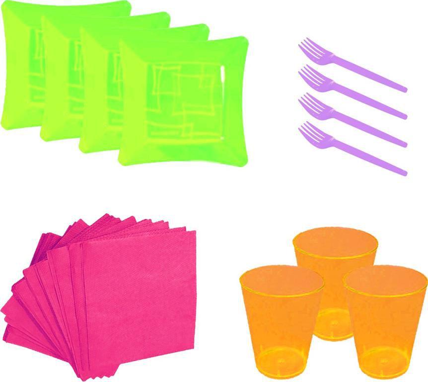 Kit pratinho. copo, garfinho e  guardanapo colorido  (10 pessoas)