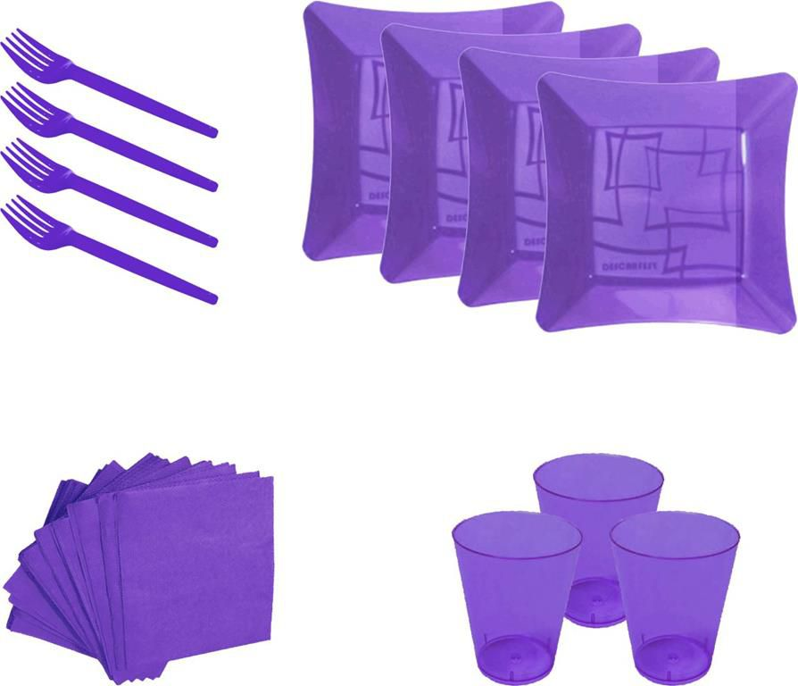 Kit pratinho. copo, garfinho e  guardanapo lilás (10 pessoas)