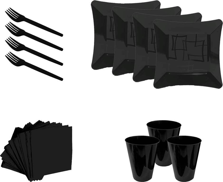 Kit pratinho. copo, garfinho e  guardanapo preto (10 pessoas)