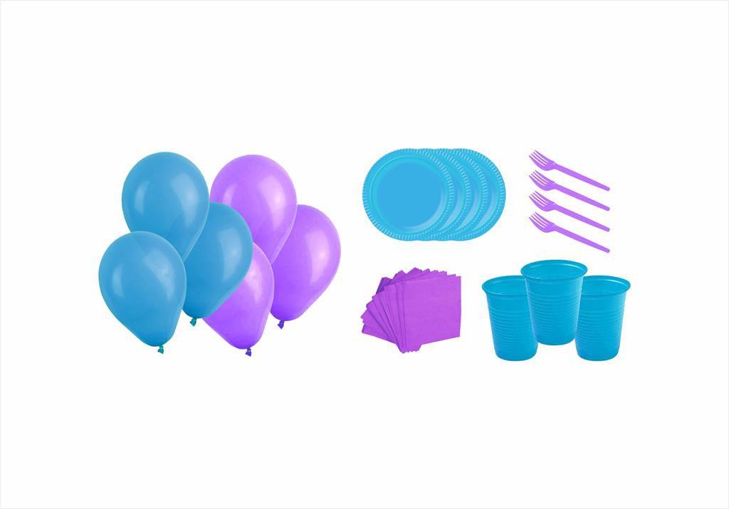 Kit pratinho. copo, garfinho, guardanapo e balões (50 pessoas) lilás e azul claro