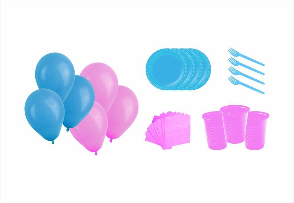Kit prato. copo, garfinho, guardanapo e balões (50 pessoas) azul claro e rosa