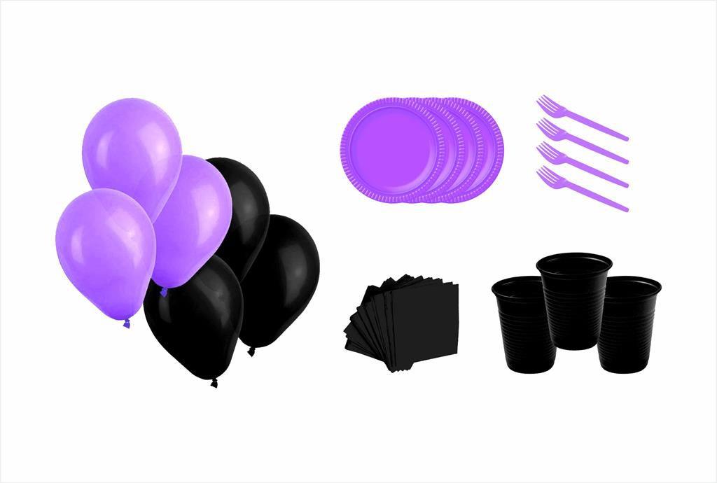 Kit prato. copo, garfinho, guardanapo e balões (50 pessoas)lilás com preto