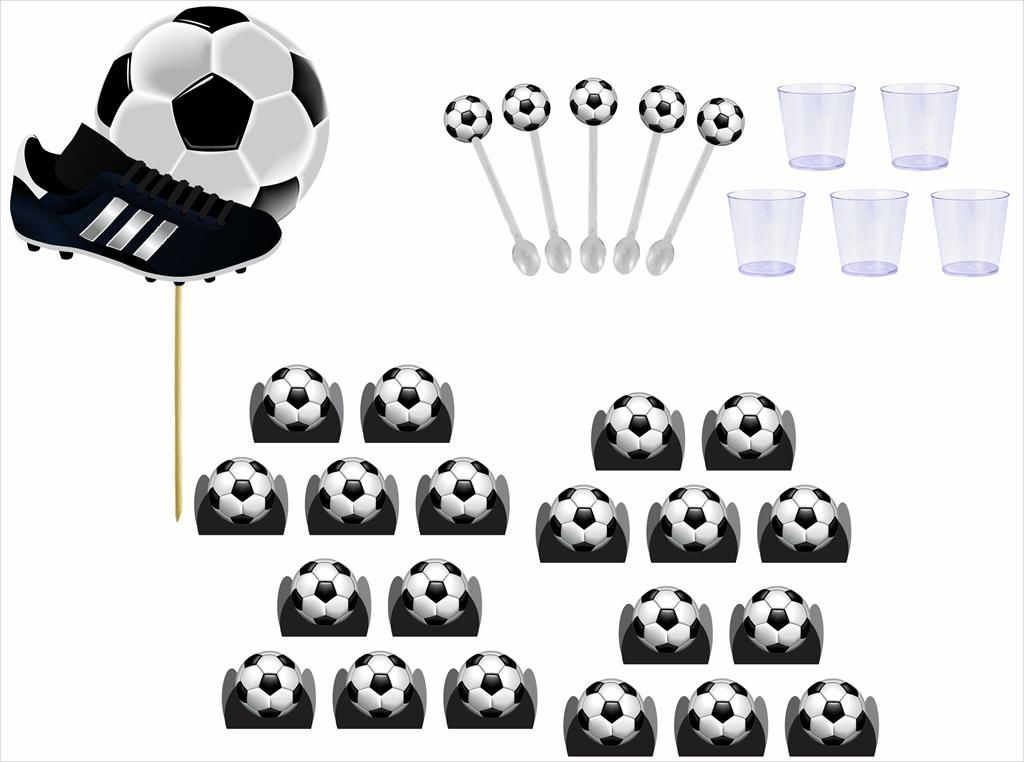 Kit topo de bolo, forminha, copinho e mini colher Futebol (151 peças)