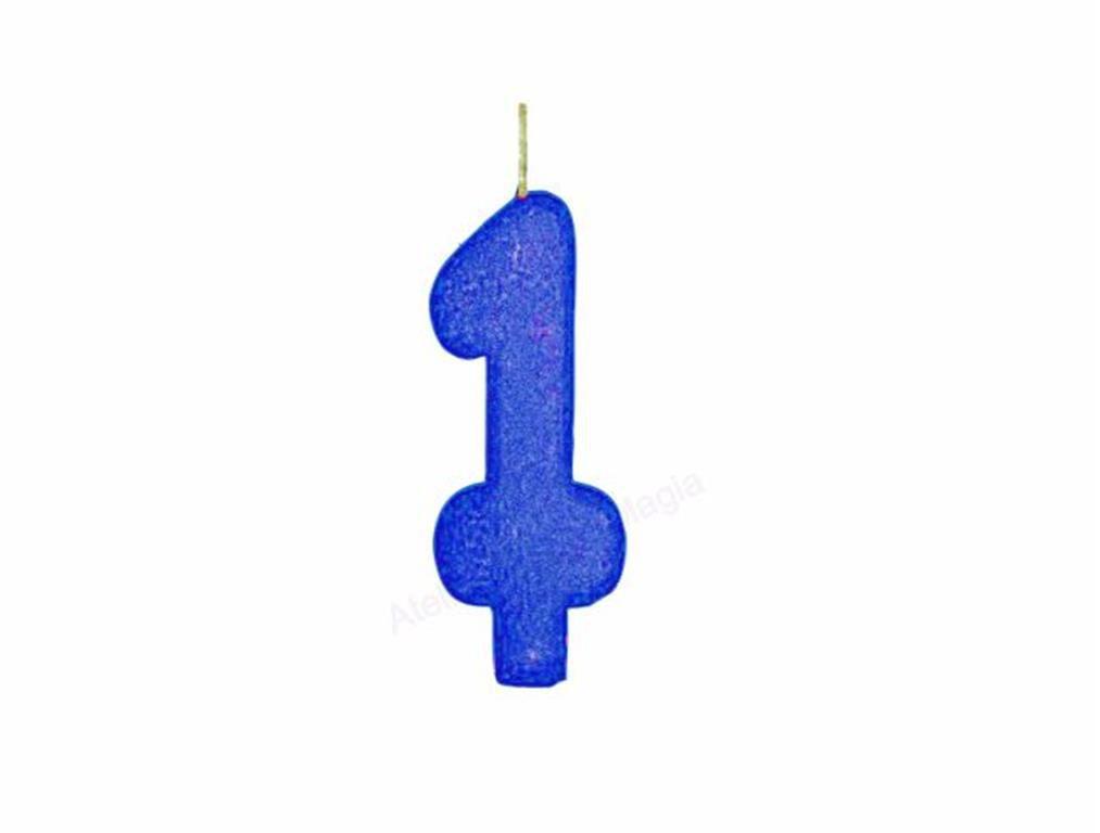 vela de aniversário azul número 1 (1 unidade)