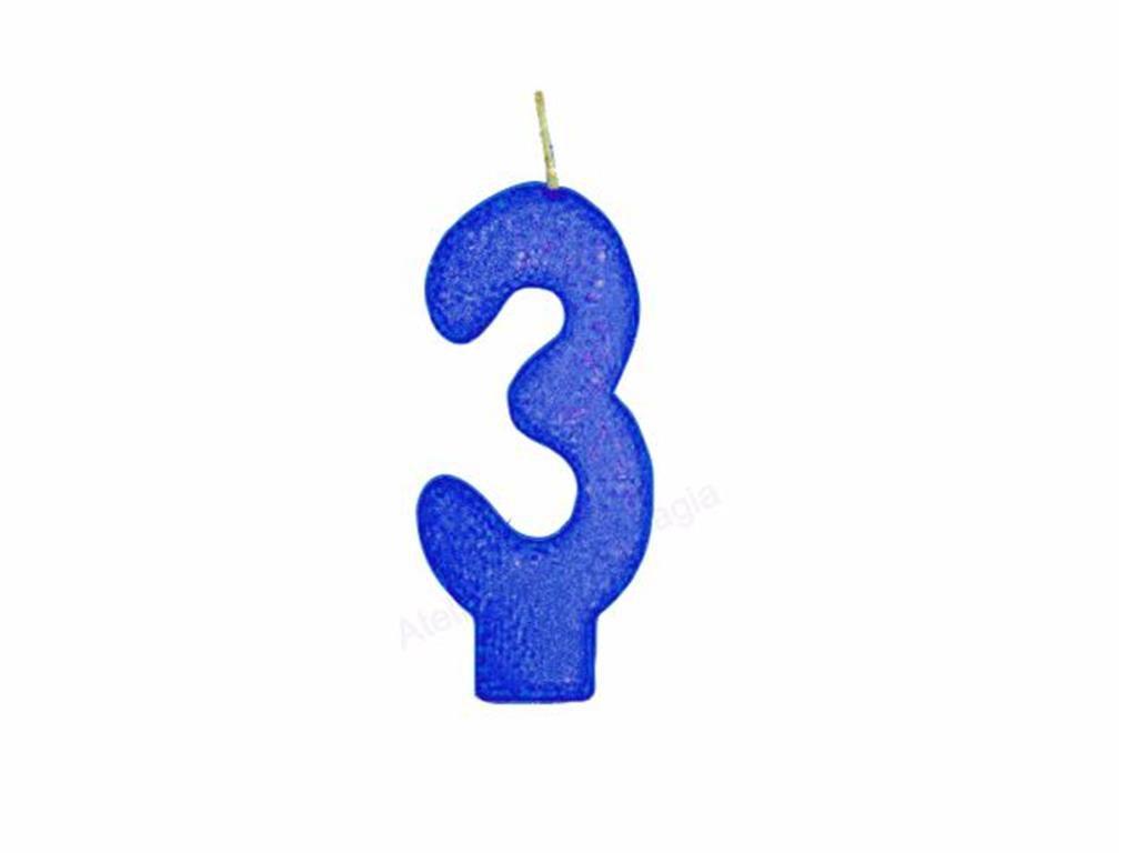 vela de aniversário azul número 3 (1 unidade)